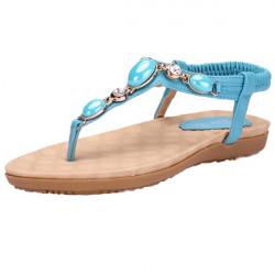 Beaded Elastic Casual Flat Sandals