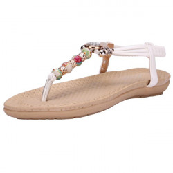 Beaded Open Toe Flops Flat Sandals