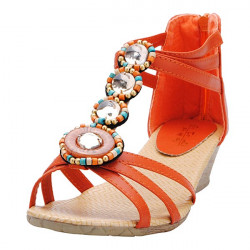 Bohemia Beaded Rhinestone Wedge Hæle Sandaler