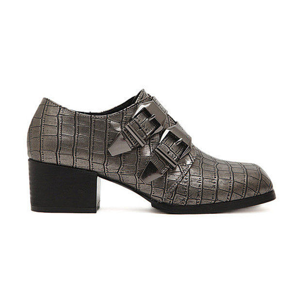 British Style Buckle Square Heel Casual Shoes Women's Shoes