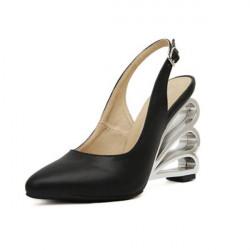Buckle Crystal Gennembrudt Hæl Kvinders Wedge Shoes