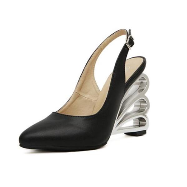 Buckle Crystal Openwork Heel Women's Wedge Shoes Women's Shoes