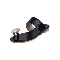 Burst Crack Low Heels Rhinestione Sandals