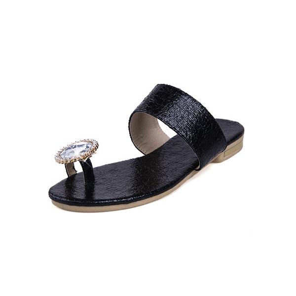 Burst Crack Low Heels Rhinestione Sandals Women's Shoes