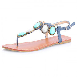 Cabochon Stone Flat Sandals