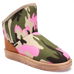 Camouflage Women Ankle and Short Flat Snow Boots