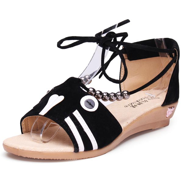 Cat Lace Up Wedge Heel Casual Sandals Women's Shoes