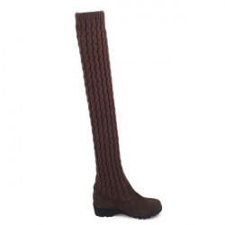 European Style Wool Knitting Over Knee High Medium Heel  Boots