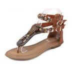 Fashion Women's Summer Rome Bohemia Zipper Flip Flops Sandal Slippers Flat Shoes Women's Shoes