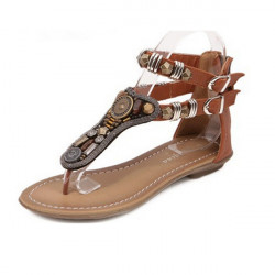 Mode Damkläder Sommar Rom Böhmen Zipper Flip Flops Sandal Tofflor Lågskor