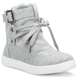Flad Lace Up High Top Canvas Sko Casual Trænere Ankelstøvler
