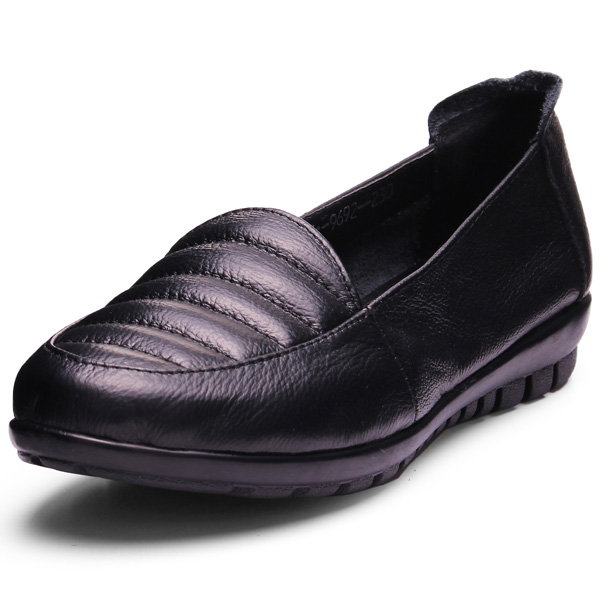 Echtes Leder reine Farbe flache Schuhe Damen Schuhe