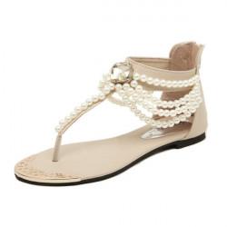 Handgjorda Pärlstav Rhinestone Zipper Sandaler