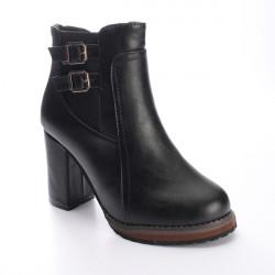 High Heel mit 2 Schnallen Elastic Reißverschluss Martin Ankle Boot Frauen