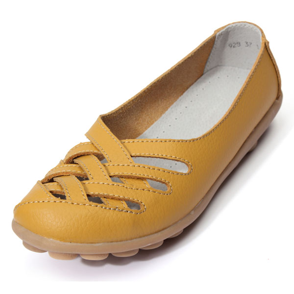 Hollow Out Leather Flat Casual Shoes Women's Shoes