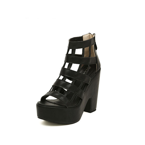 Aushöhlen starke Ferse Reißverschlüsse Sandalen Damen Schuhe
