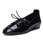 Lace Up Dick Fersen zeigte flache Schuhe Damen Schuhe