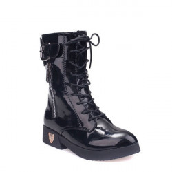 Lace Up Zipper Buckle Mid-calf Boots