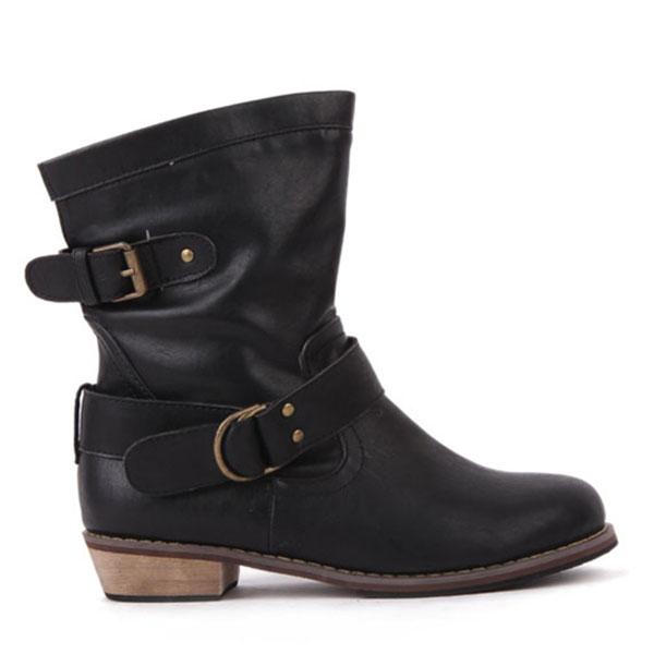 Damen flache Ferse Weinlese Gürtelschnalle Ankle Boots Motorrad Damen Schuhe