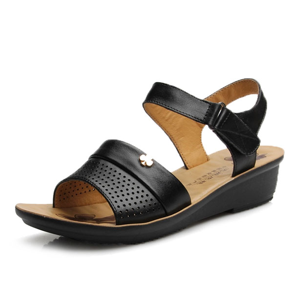Damen echte Leahter Falt Sandalen Frauen öffnen runde Zehe weiche Sohle Sandalen Damen Schuhe