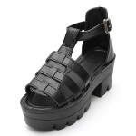 Lady Strappy Platform Block Heel Chunky Buckle Ankle High Sandals Women's Shoes