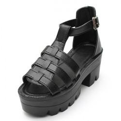 Lady Riemchen Plattform mit Blockabsatz Chunky Schnalle Ankle Hohe Sandalen