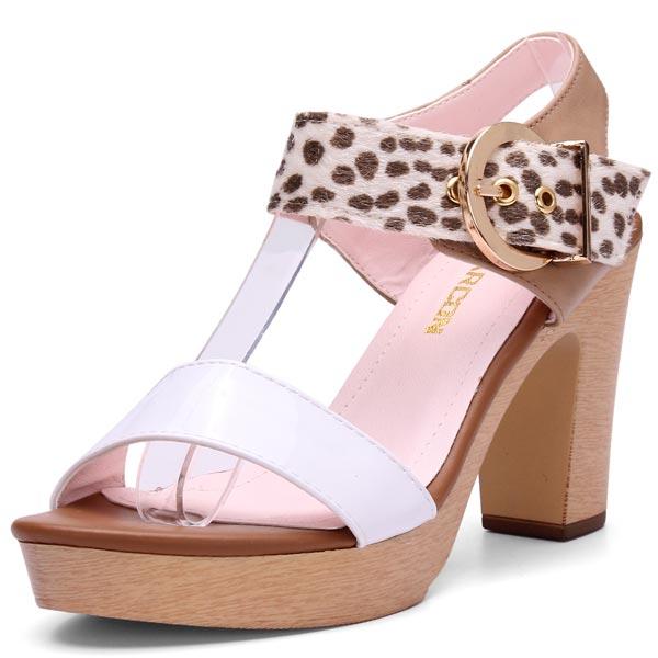 Leopard Buckle Thick Heel Sandals Women's Shoes