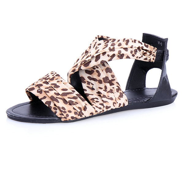 Leopard Kreuz Bügel Flache Sandalen Damen Schuhe
