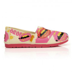 Lips Print Pattern Canvas Round Loafer Shoes