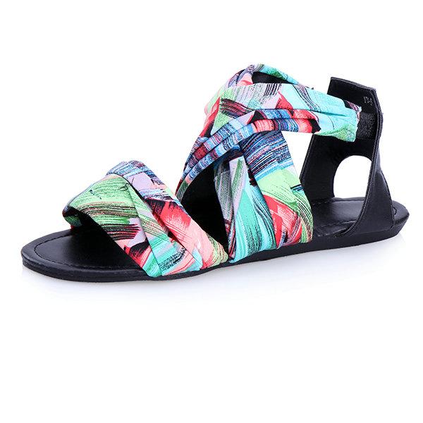 Multicolor Cross Strap Sandals Women's Shoes