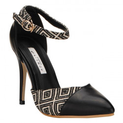 Patchwork Buckle Spetsig Toe Pumps