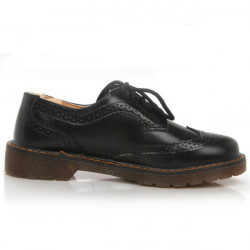 Patent Leather Lace Up Oxford Flat Shoes