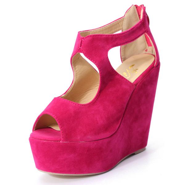 Peep Toe Platform Wedge Pumps Women's Shoes