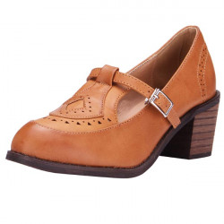 Retro Style Buckle Hollow Casual Shoes
