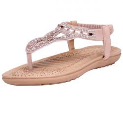 Rhinestone Elastic Strap Flat Sandals