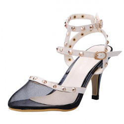 Rivet Double Buckle Pointed Toes Sandals