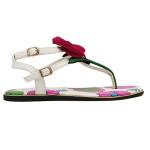 Rose Flower Buckle Flat Sandals Women's Shoes