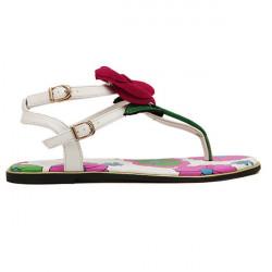 Rose Flower Buckle Flat Sandals