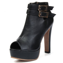 Sexy Womens High Heels Platform Peep Toe Zipper Ankle Boots