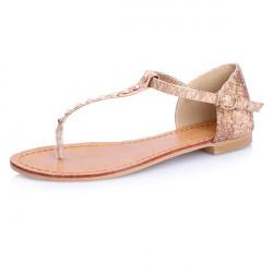 Snakeskin Thongs Flat Sandals