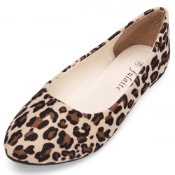 Suede Pointed Toe Leopard Grain Flat Lady Casual Shoes
