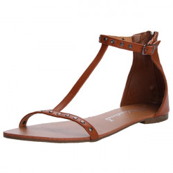 T Strap Zipper Buckle Flat Sandals