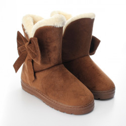 Women Bowknot Plush Warm Women Flats Snow Ankle Boots