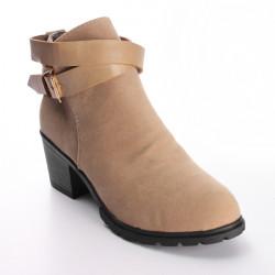Kvinnor Buckle Strap Faux Suede Block Mid Klack Ankle Boot