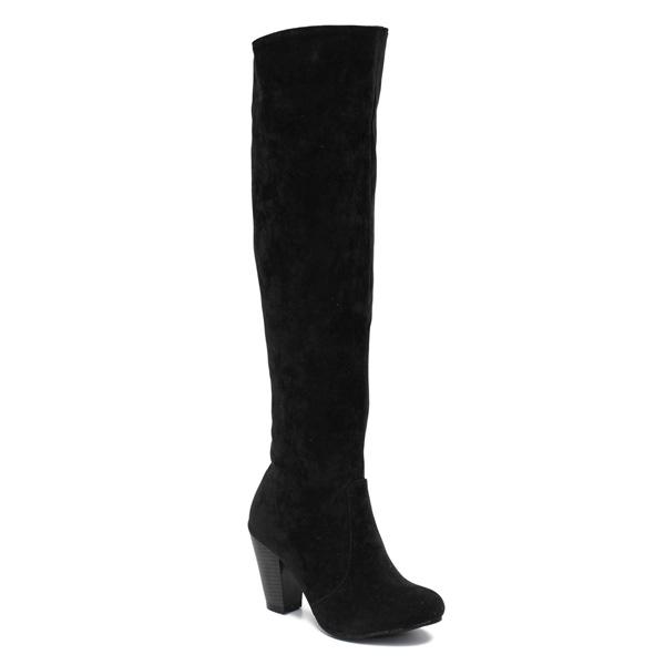 Frauen klassische Wildleder starke Ferse über den Knie Stiefel Damen Schuhe