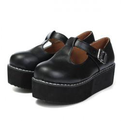 Women Flats Creeper T-Straps Round Toe High Platform Shoes