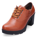 Women Genuine Leather High Heels Shoes Thick Heels Lace Up Women Pumps Women's Shoes