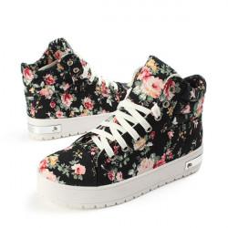 Kvinder Girls High-Top Lace Up Sneakers Floral Canvas Plateau Sko