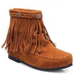 Frauen Höhe zunehmende Quasten Flache Ankle Short Boots