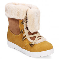 Women Increasing Height Lace Up Mid-calf Winter Cotton Snow Boots